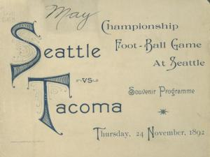 Cover of souvenir program for 1892 championship football game in Seattle
