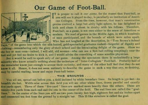 "First page of ""Our Game of Foot-Ball"" by G.W. Woodruff"