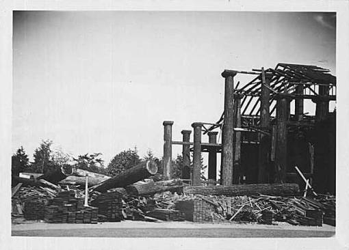 Former AYPE Forestry building being demolished, 1930.