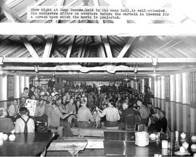 Movie night at Camp Gerome, circa 1941.